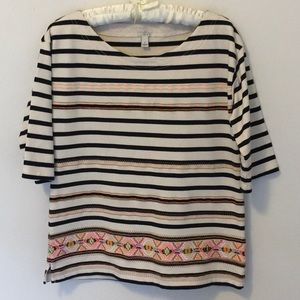 J. Crew Striped Embroidered shirt. Size S